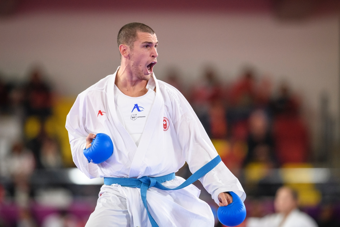 LIMA, Peru - Daniel Gaysinsky of Canada competes against  Brian IRR of the United States in men's over 84kg karate at the Lima 2019 Pan American Games on August 10 2019.