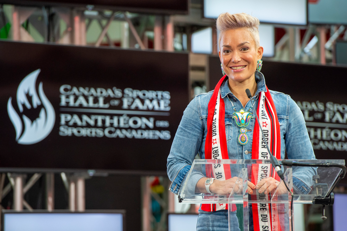 Waneek Horn Miller poses at Canadian Sports Hall of Fame