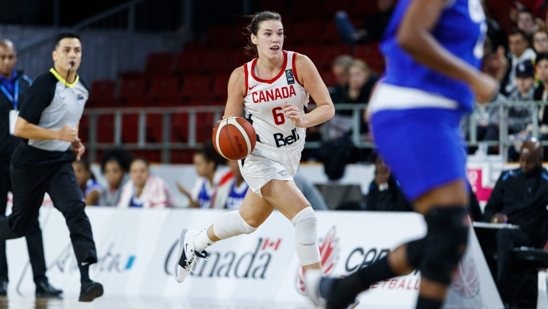 Basketball player running with ball