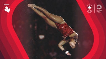Meaghan Benfeito mid-air during a dive.