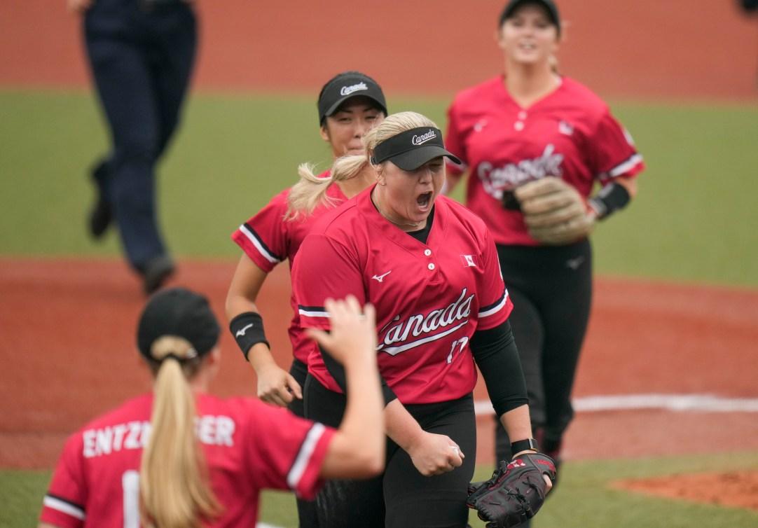 Team Canada's Sara Groenewegen celebrates with teammates