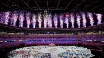 Fireworks light up the sky at the Opening Ceremony