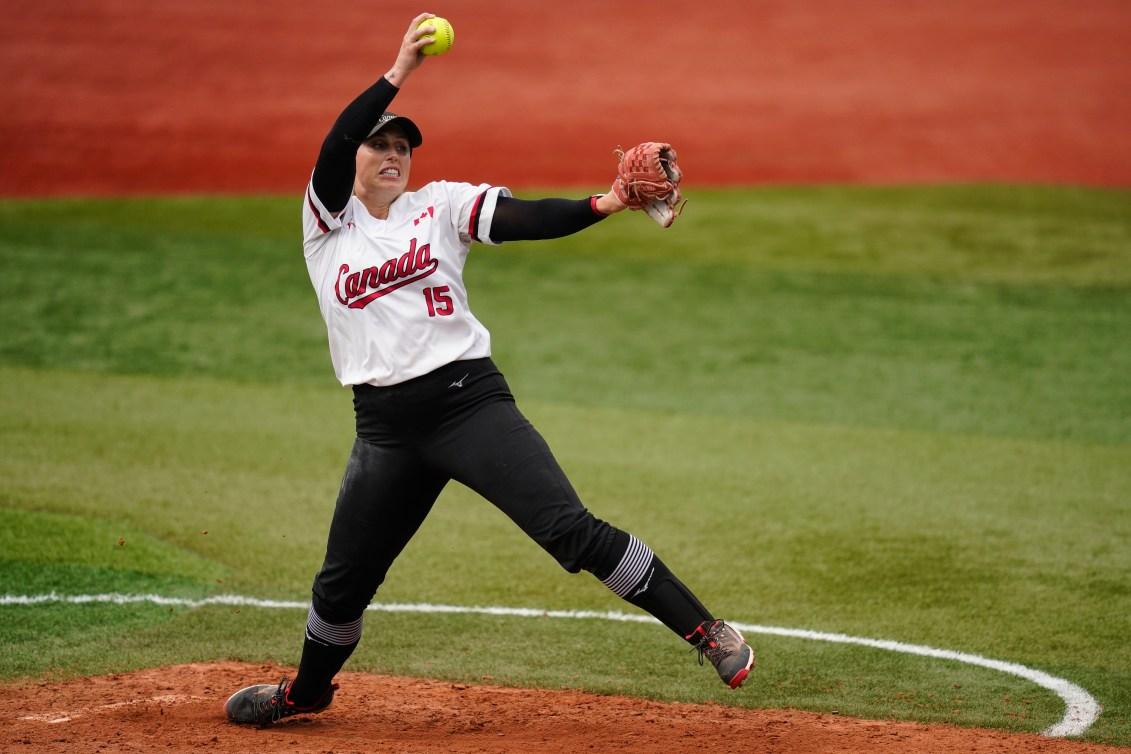 Canada's Danielle Lawrie pitches