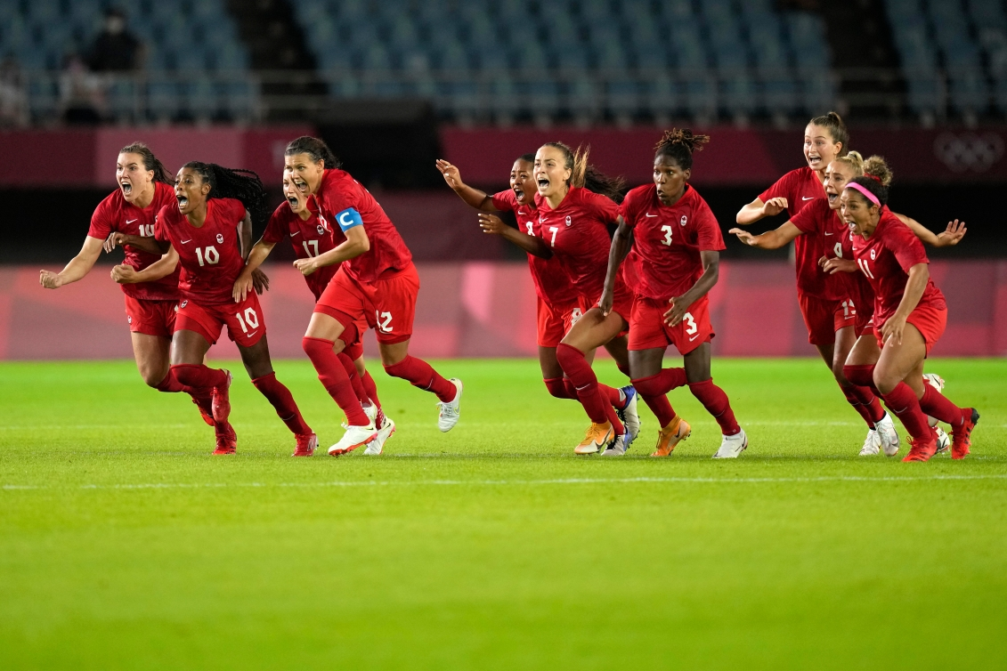 Canadian players react with excitement after winning the penalty shootout against Brazil