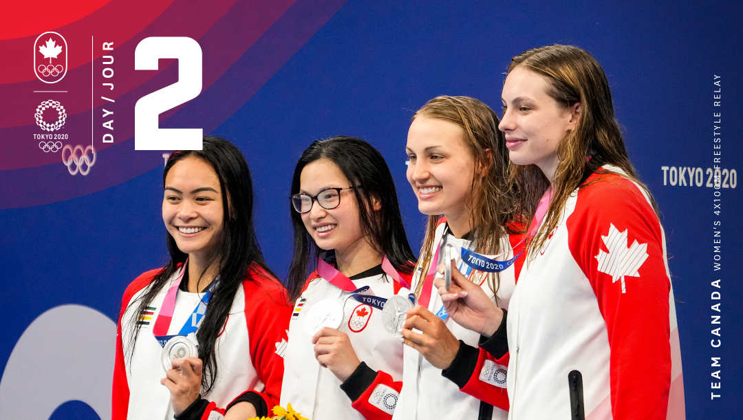 Four swimmers smiling on podium