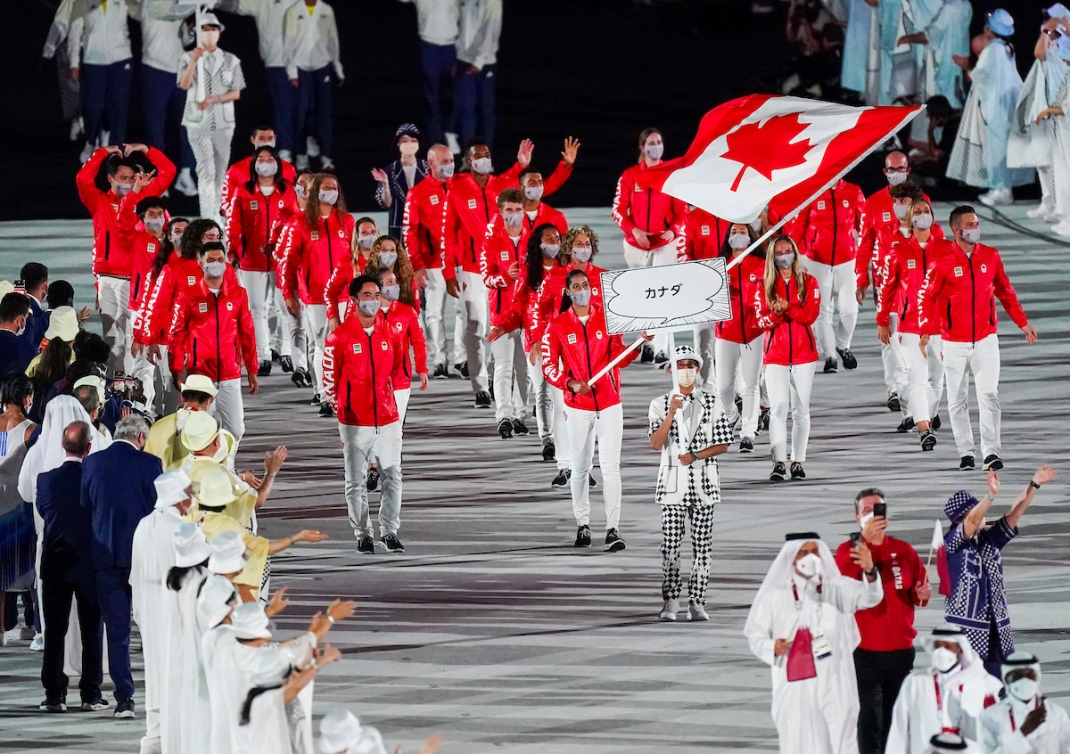 Team Canada marches into the Olympic Stadium.