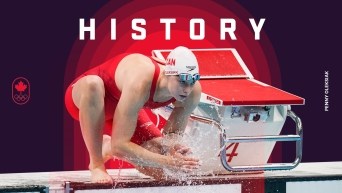 """A graphic showing Penny Oleksiak at the side of the pool, with the word """"history"""" above her."""
