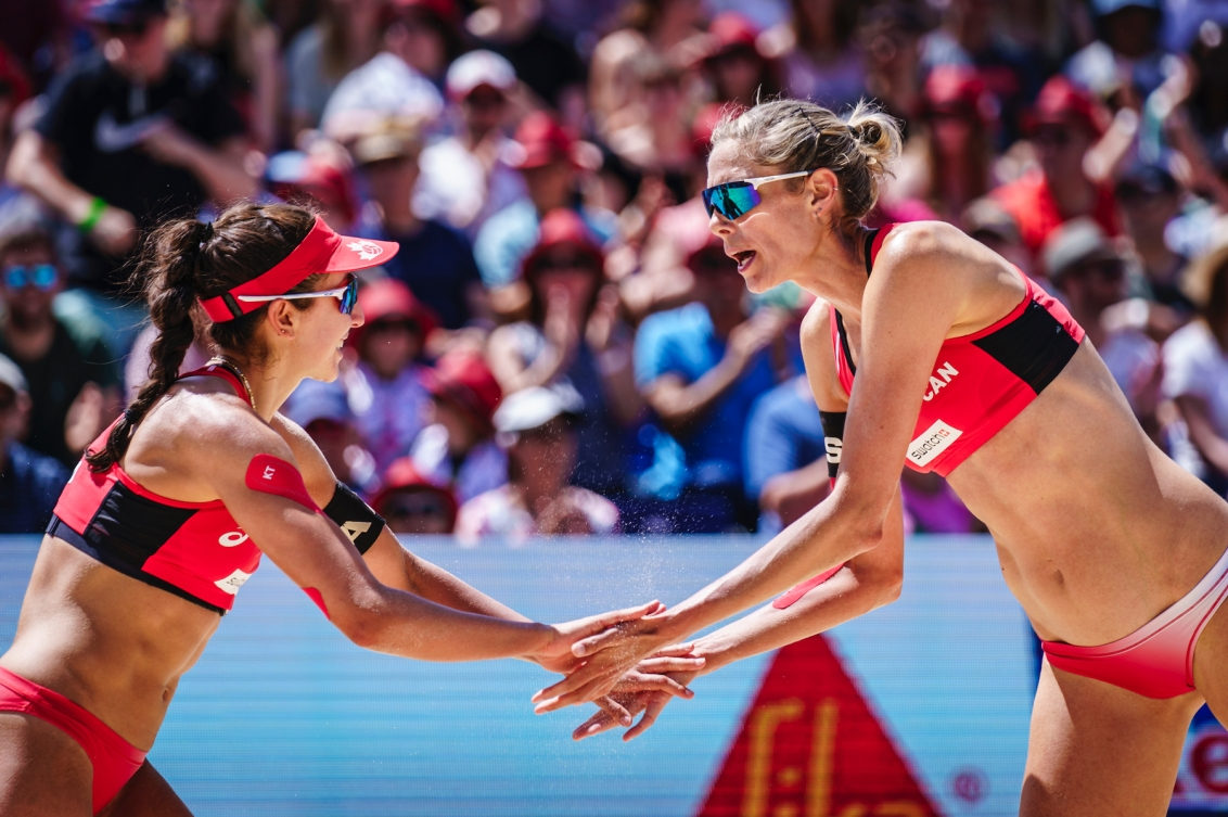Canada's Melissa Humana-Paredes and Sarah Pavan captured bronze at the World Tour event in Gstaad, Switzerland on Sunday July 11, 2021. (Photo by: FIVB)
