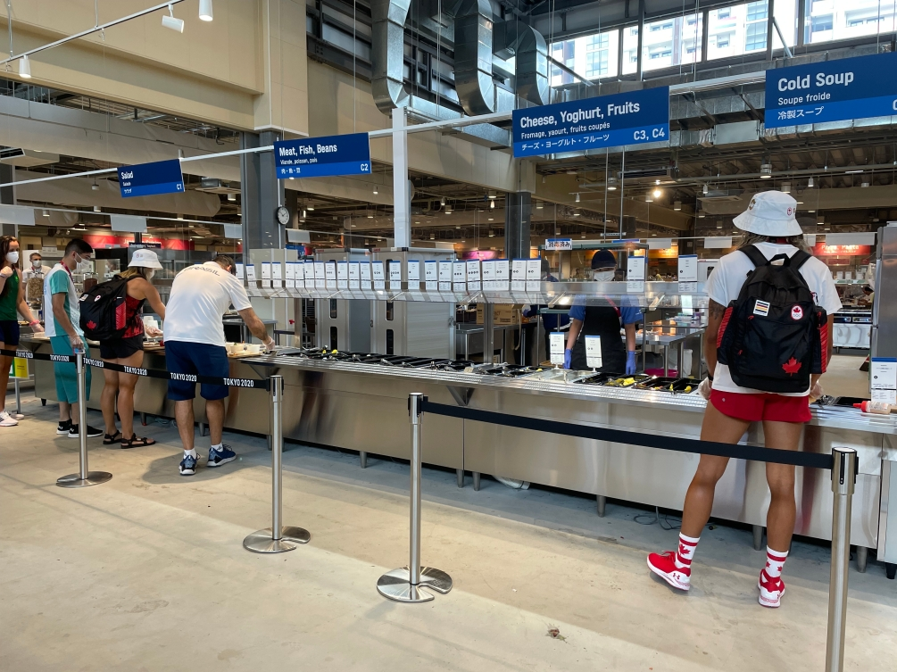 Team Canada's Heather Bansley and Brandie Wilkerson in the Dining Hall
