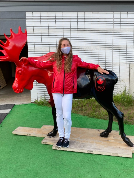 Hayley Daniels poses with the iconic Team Canada moose.