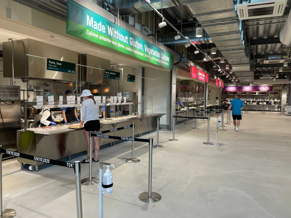 Cafeteria style food service booth in Olympic Village