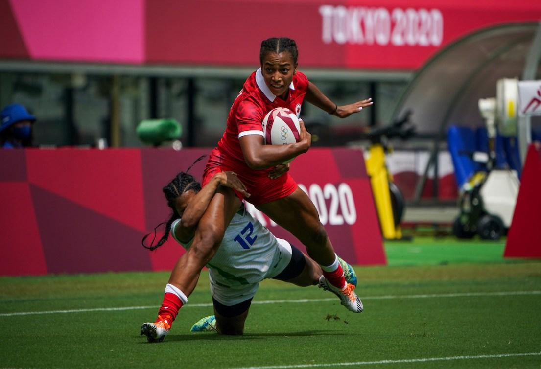 Team Canada's Keyara Wardley attempts to break a tackle