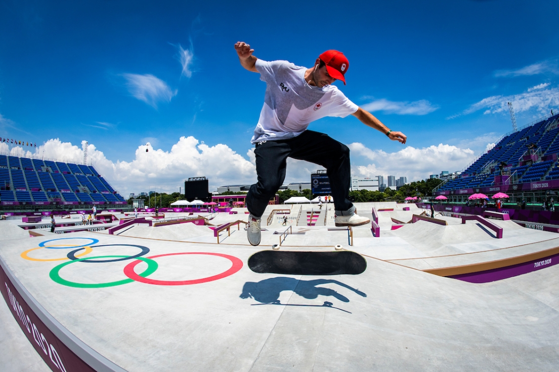 Canadian skateboarder Matt Berger trains in at the Ariake Urban Sports Park during the Tokyo 2020 Olympic Games on July 23, 2021.