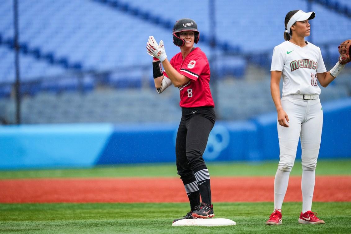 Victoria Hayward celebrates hitting a double