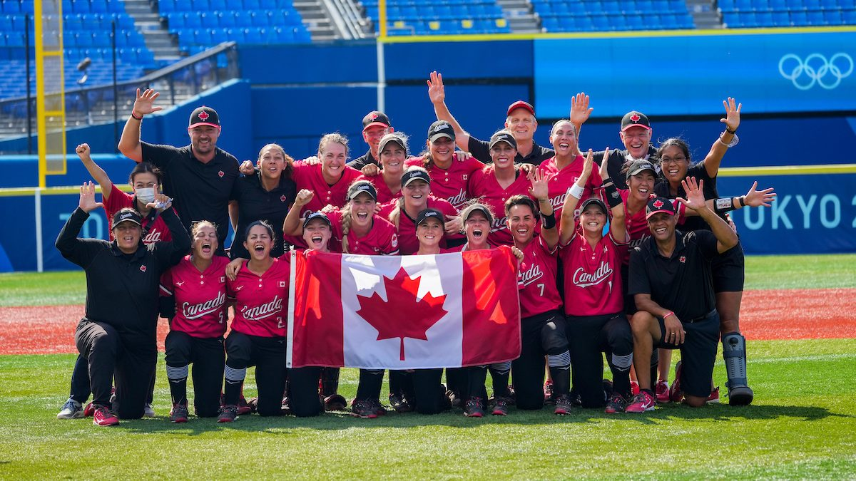 Canada celebrates after winning the bronze medal