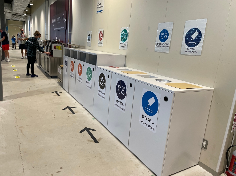 Row of recycling bins against a wall