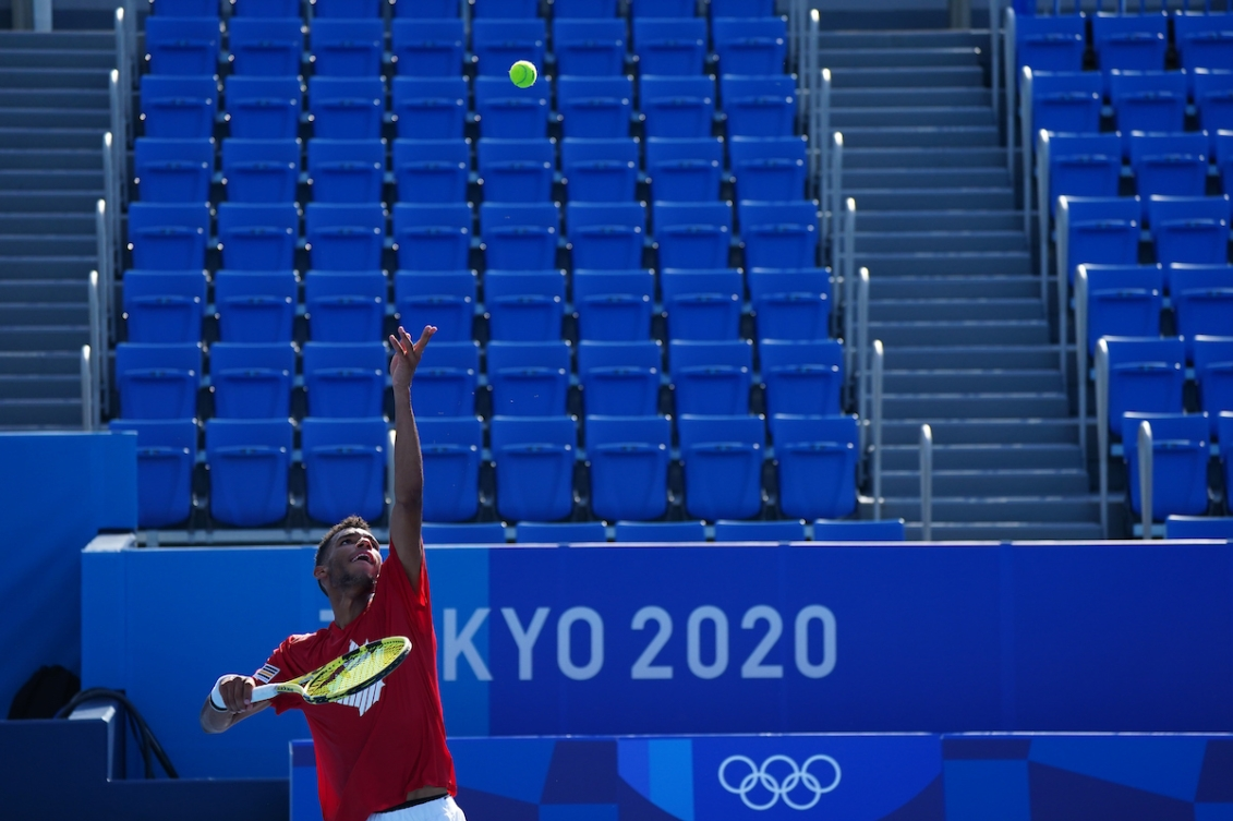 TOKYO, Japan - Canadian Félix Auger-Aliassime trains at Ariake Tennis Park in Tokyo, Japan ahead of the Tokyo 2020 Olympic Games on July 20, 2021. Photo by Stephen Hosier/COC