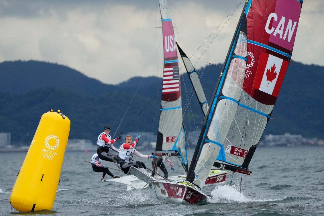 Team Canada sailing on the water