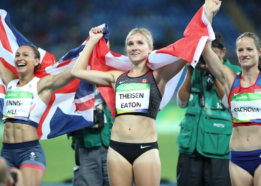 Brianne Theisen-Eaton celebrates after heptathlon