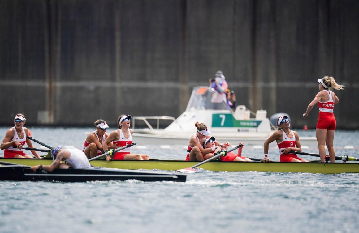 Rowing crew celebrates win