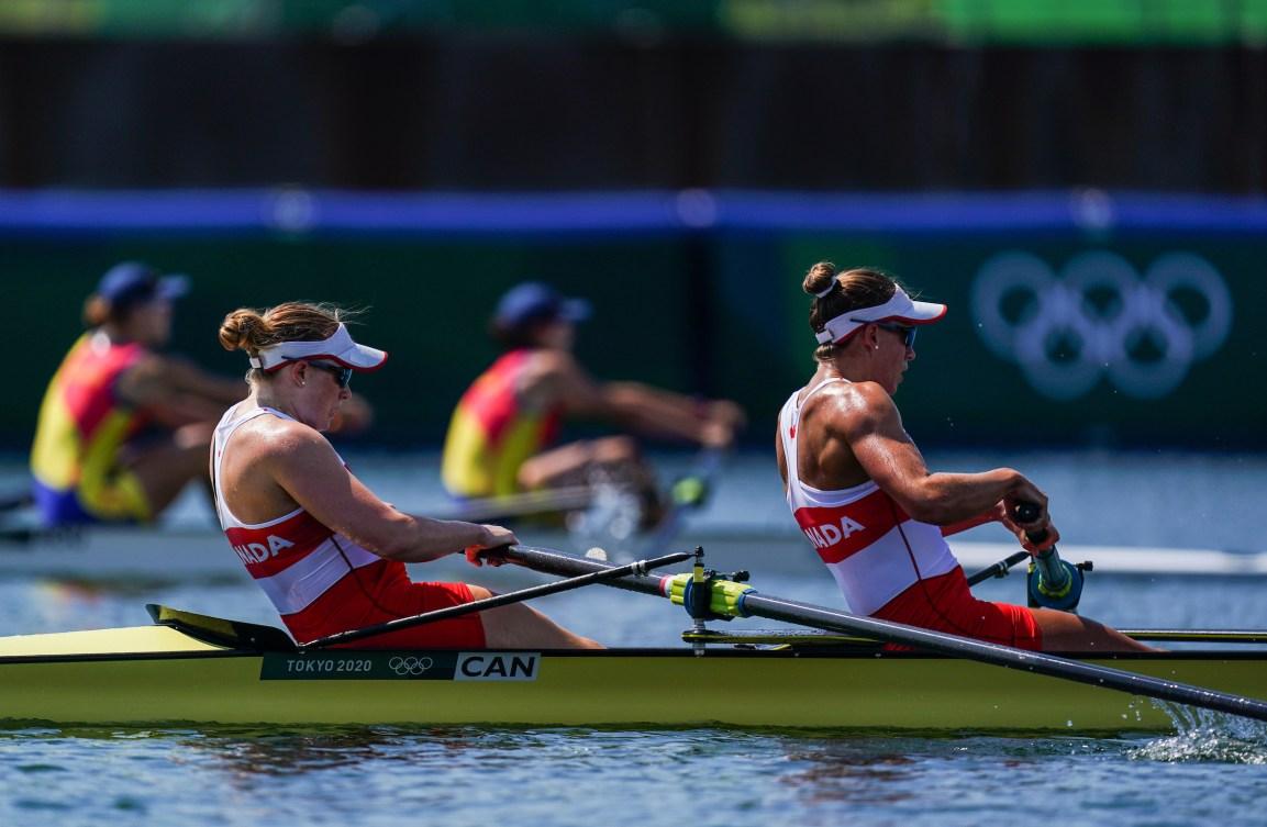 Women's rowing pair in a race
