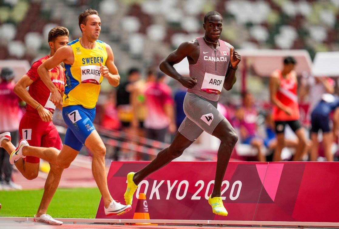 Marco Arop races in the men's 800-metre round 1.