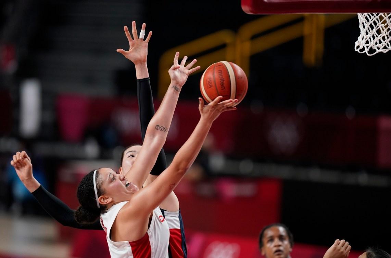 Natalie Achonwa drives to the basket.
