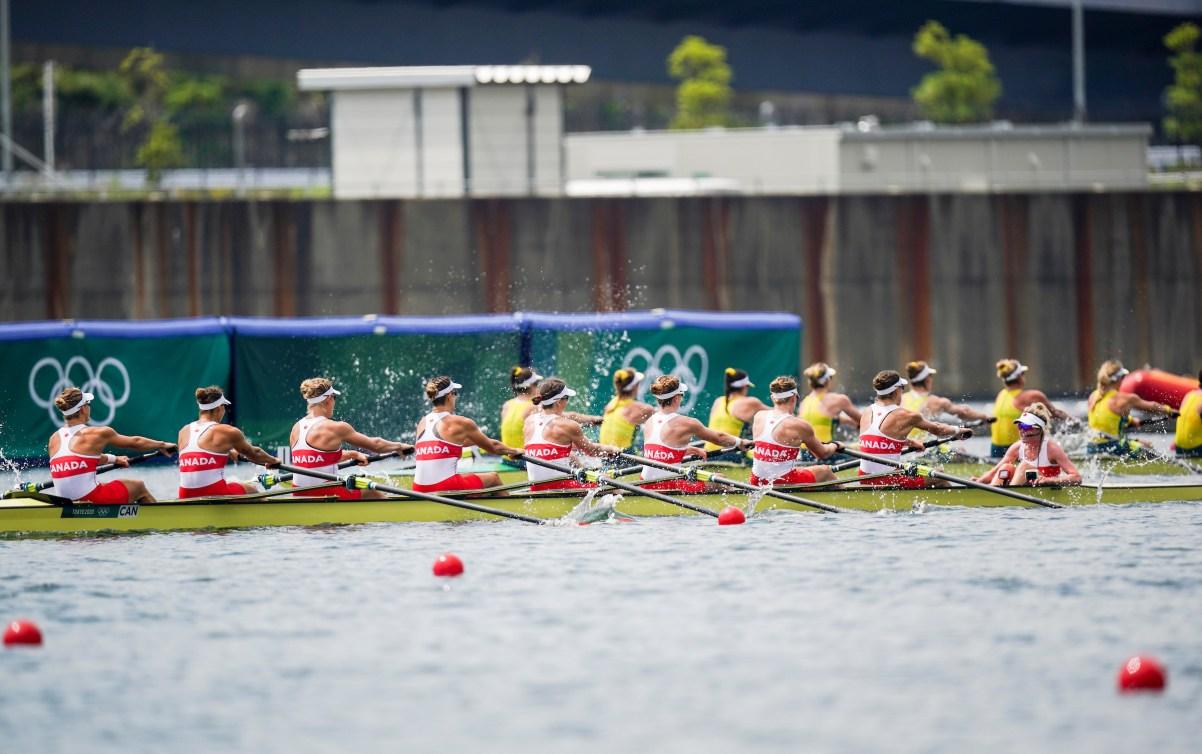 Women's eight crew rowing in race