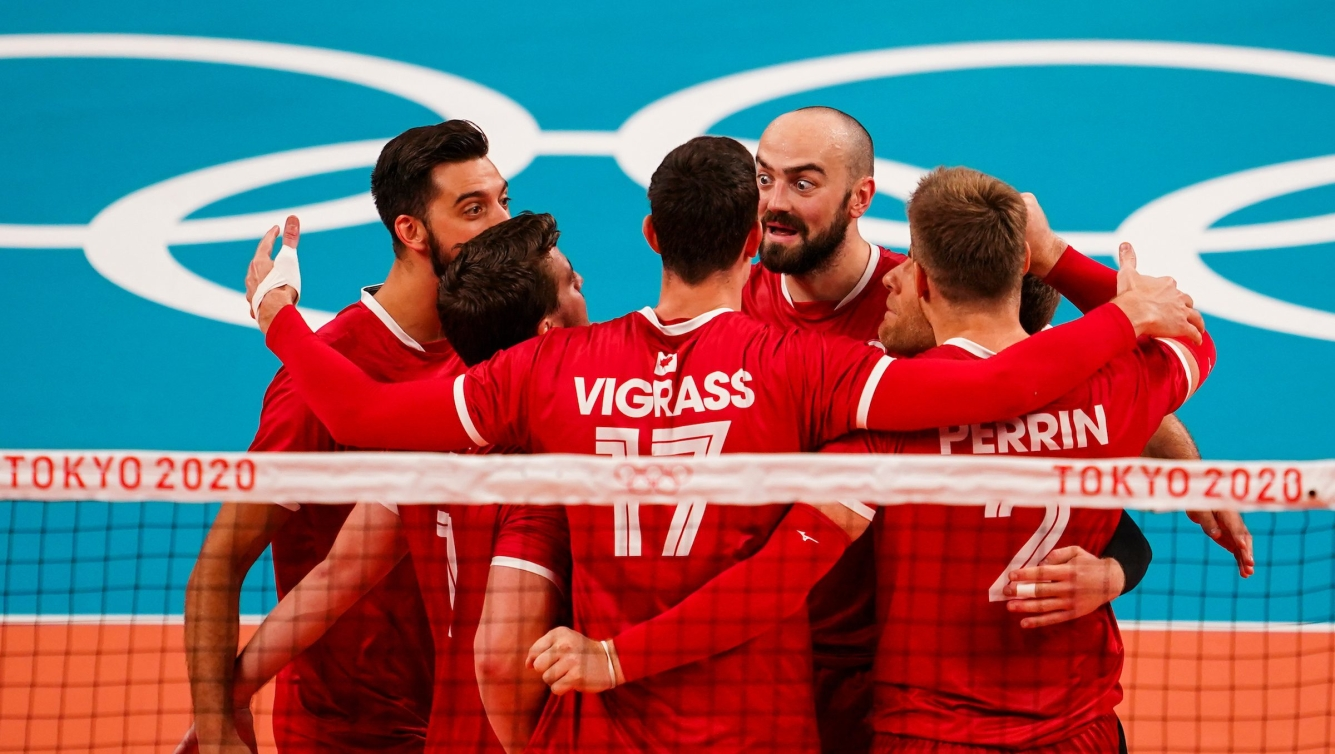 Men's volleyball team celebrates