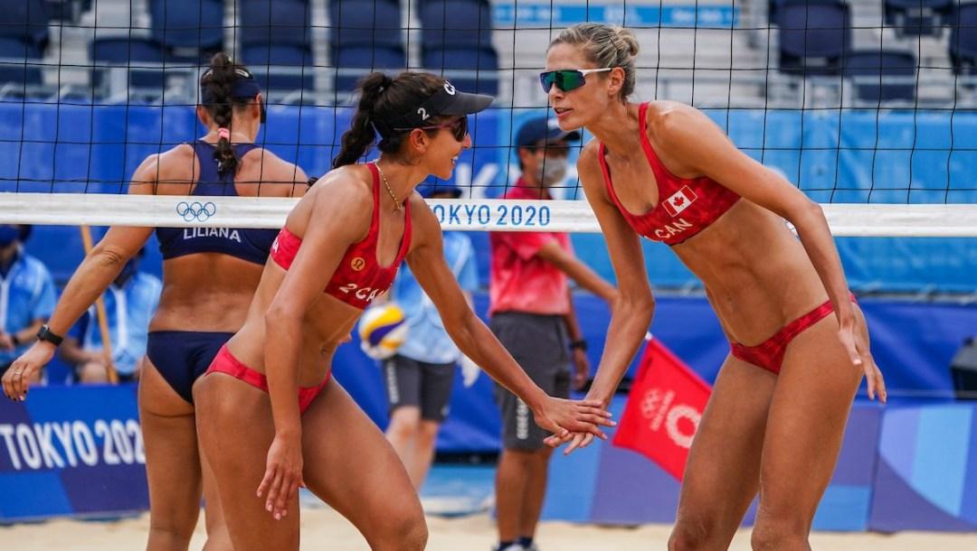 Canadian Sarah Pavan celebrates with teammate Melissa Humana-Paredes