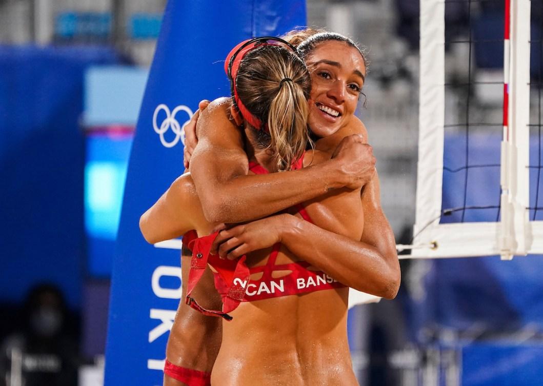 Brandie Wilkerson and Heather Bansley hug