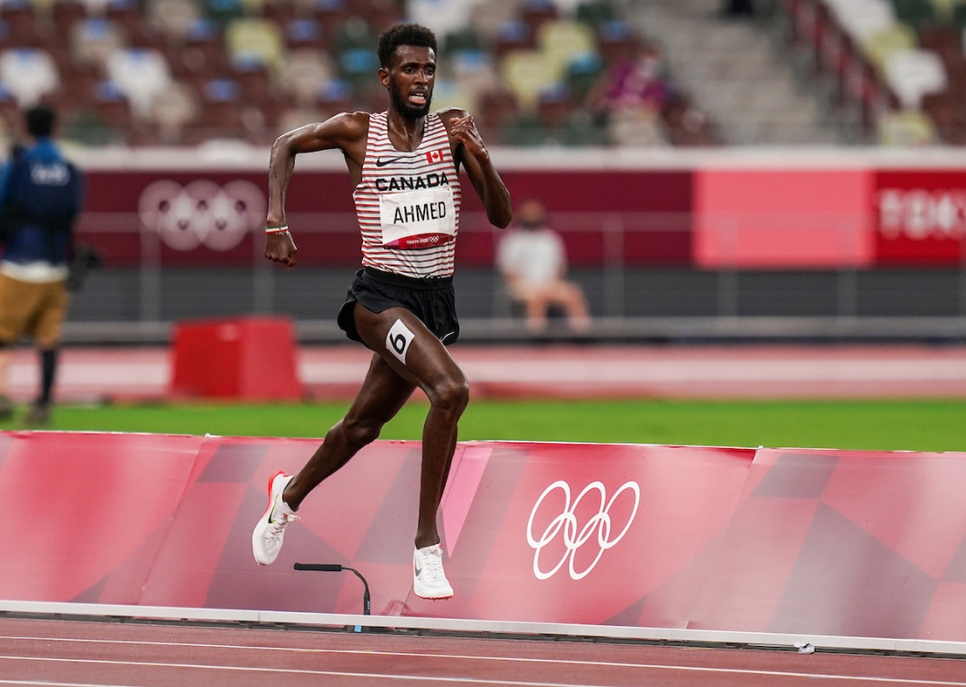 Mohammed Ahmed runs in the 5000m final at Tokyo 2020