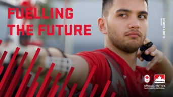 """Graphic reads: """"Fuelling the Future"""", featuring Andrew Azores from archery. The Canadian Olympic Committee and Petro Canada logos are in the bottom right corner."""