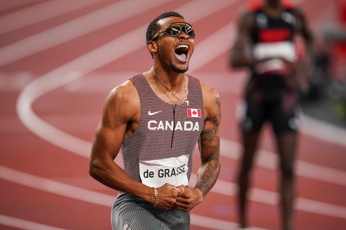 Andre De Grasse celebrates 200-metre victory