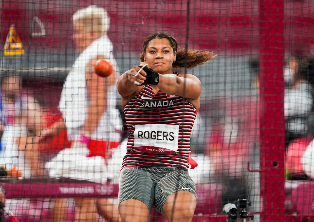 Camryn Rogers throws the hammer at the Tokyo Olympic Games.