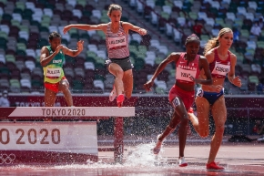 Genevieve Lalonde jumps over steeple.