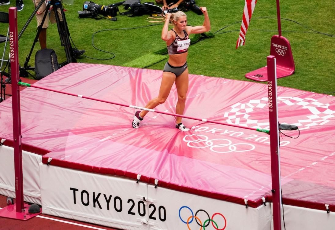 Georgia Ellenwood celebrates clearing the high jump bar in the heptathlon.