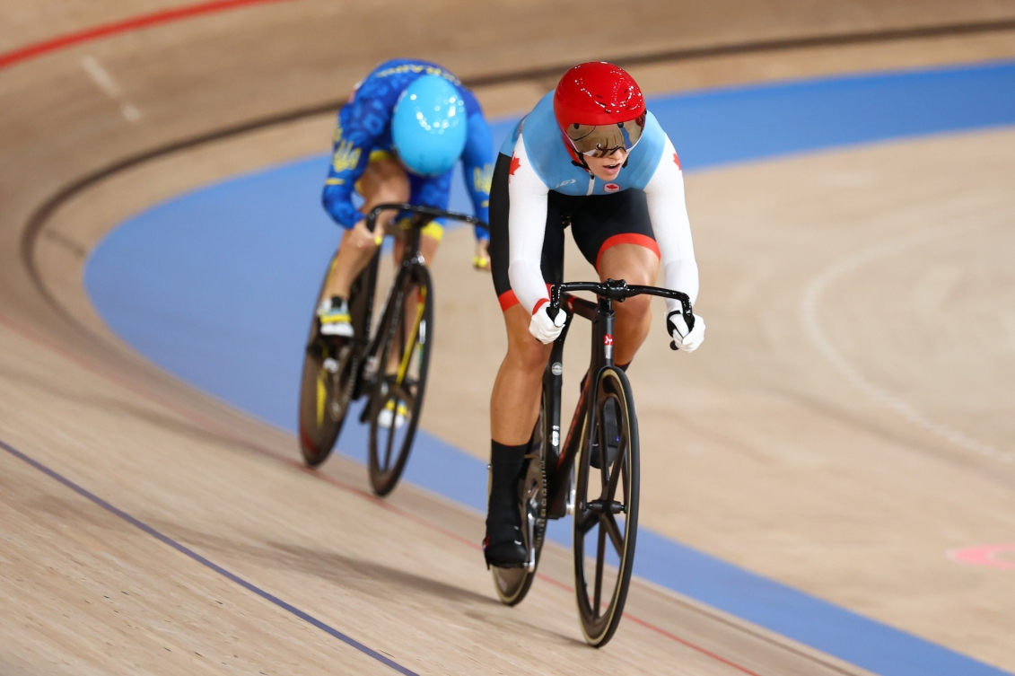 Kelsey Mitchell races in the individual sprint