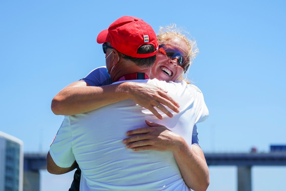 Laurence Vincent Lapointe hugs her coach