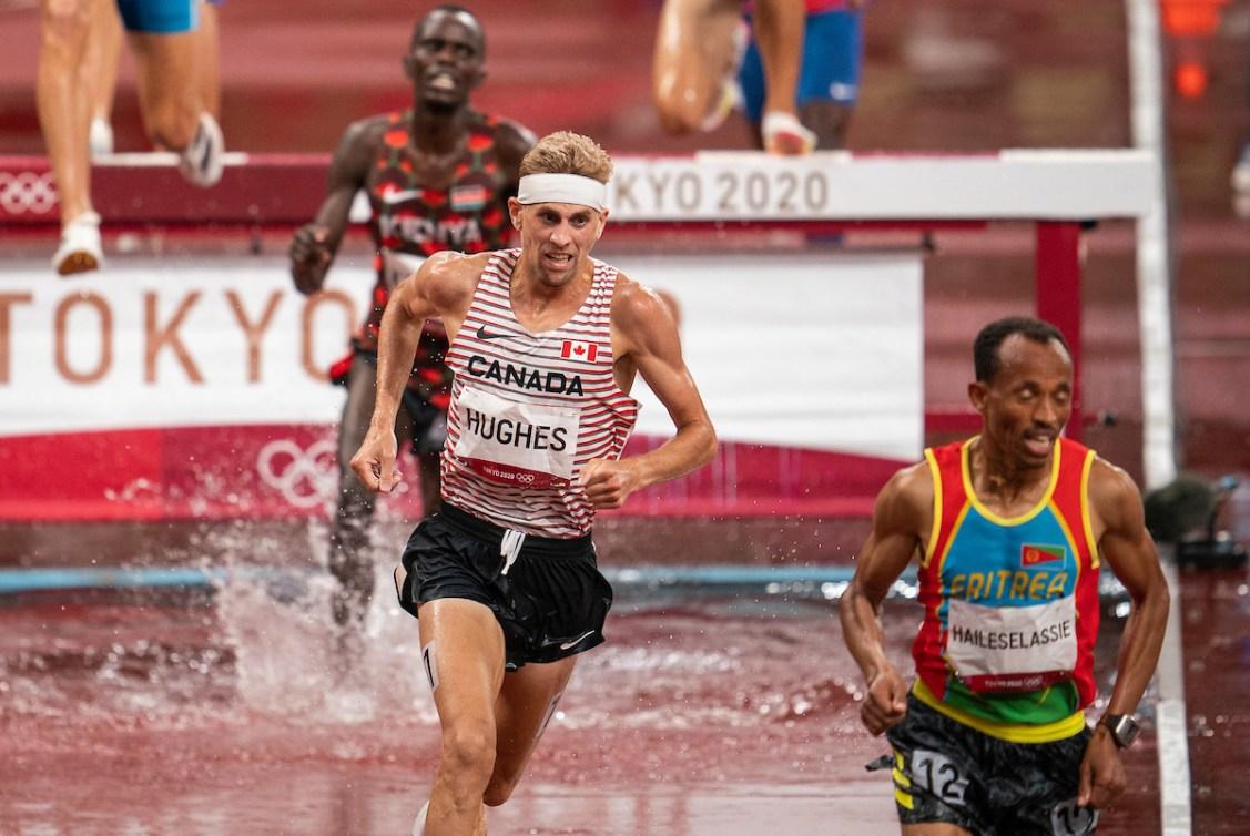 Matt Hughes competes in the men's 3000-metre steeplechase.
