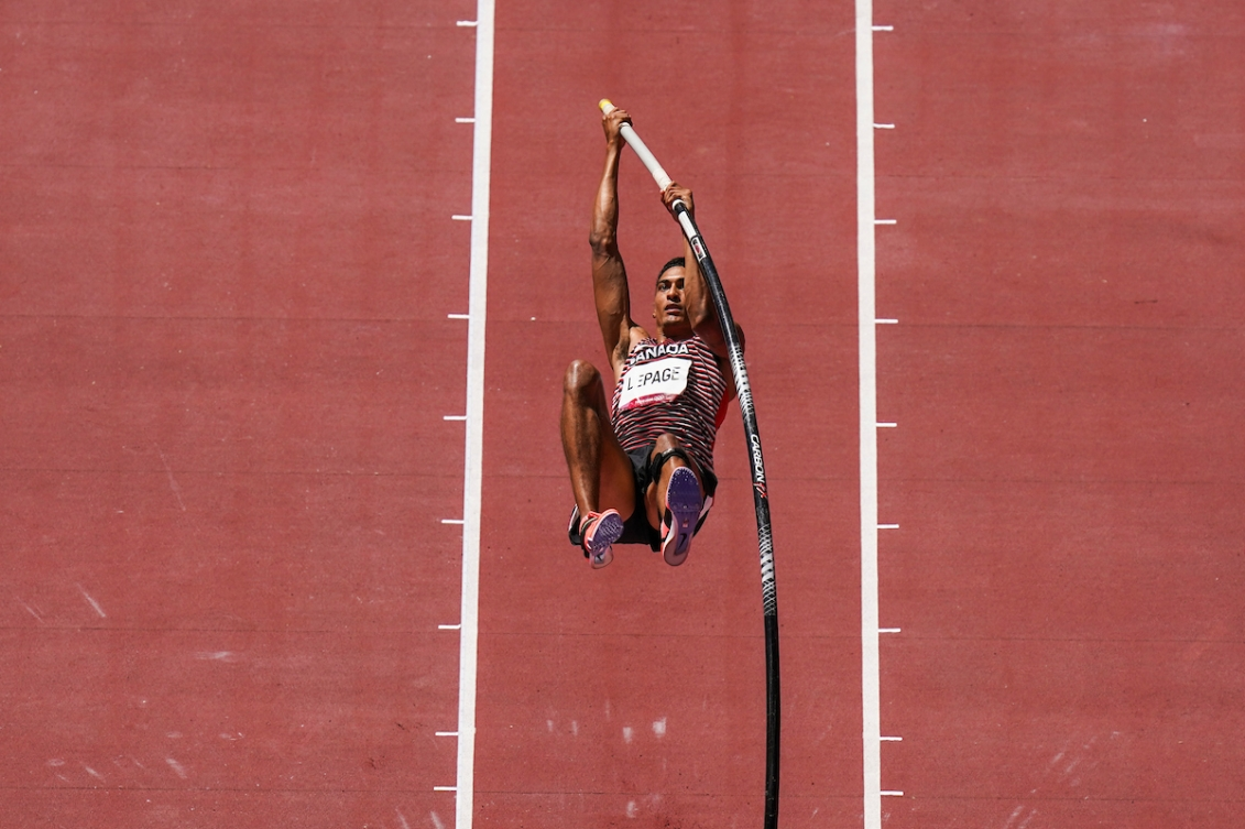Pierce LePage competes in the decathlon pole vault competition.