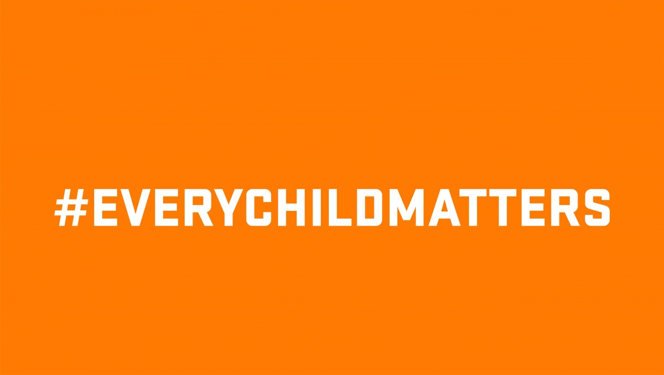 Orange background with the hashtag Every Child Mattters
