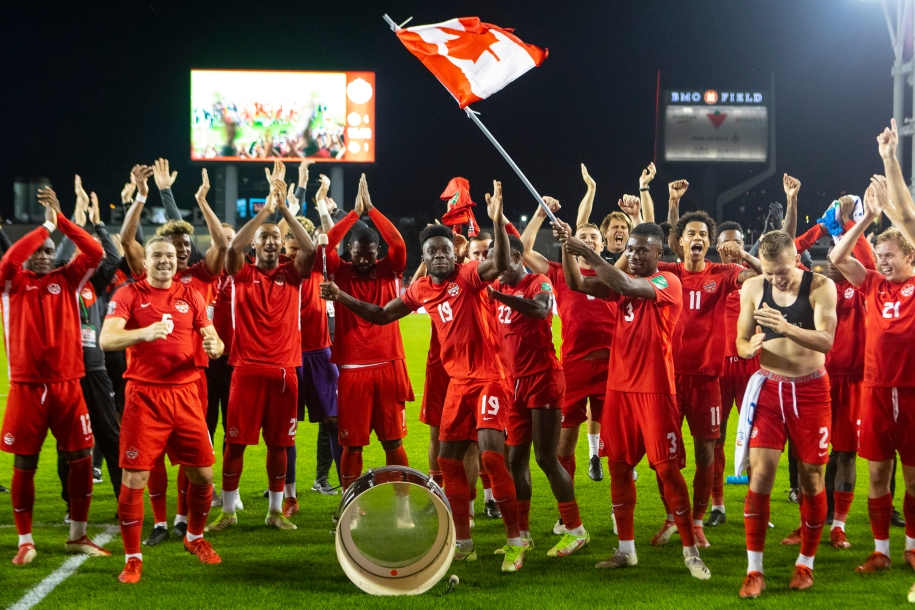 Canada celebrates their 4-1 victory over Panama following World Cup qualifying action in Toronto, on Wednesday, October 13, 2021.