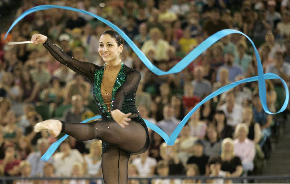 Alexandra Orlando lors de l'épreuve du ruban aux Jeux du Commonwealth