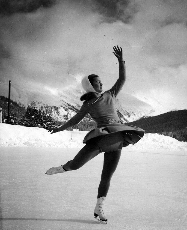 Barbara Ann Scott participe aux Jeux d'hiver de St Moritz en 1948. (CP Photo)