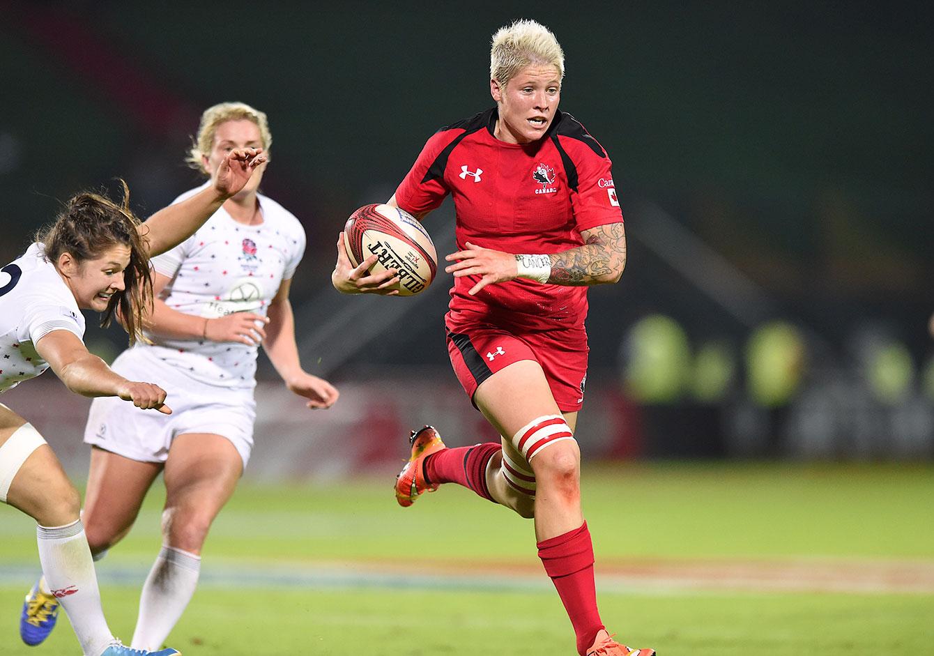 Jen Kish, capitaine de l'équipe féminine de rugby à sept