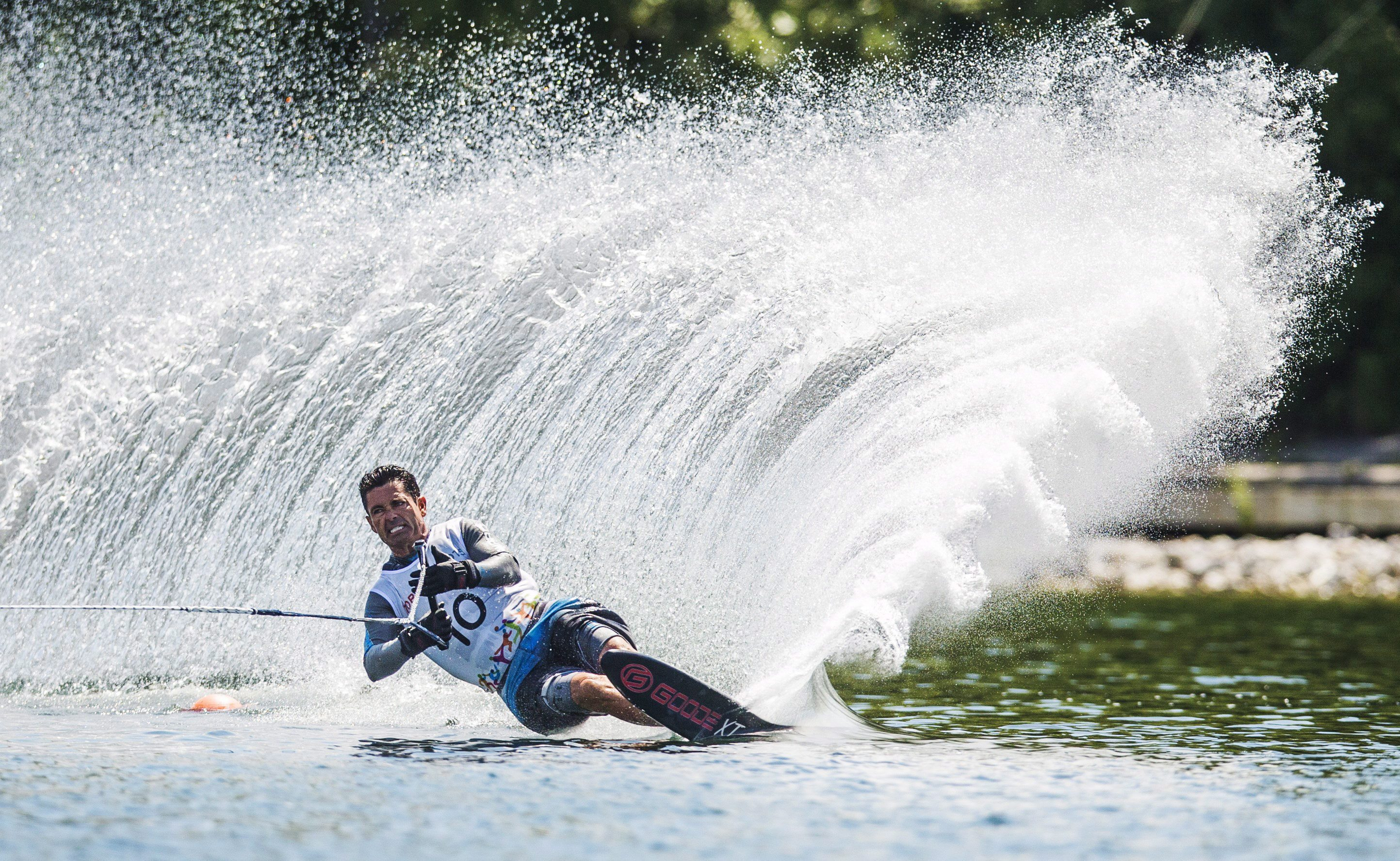 Jaret Llewellyn of Canada competes during the men's waterski slalom preliminary round at the Pan Am Games in Toronto, Monday July 20, 2015. THE CANADIAN PRESS/Mark Blinch