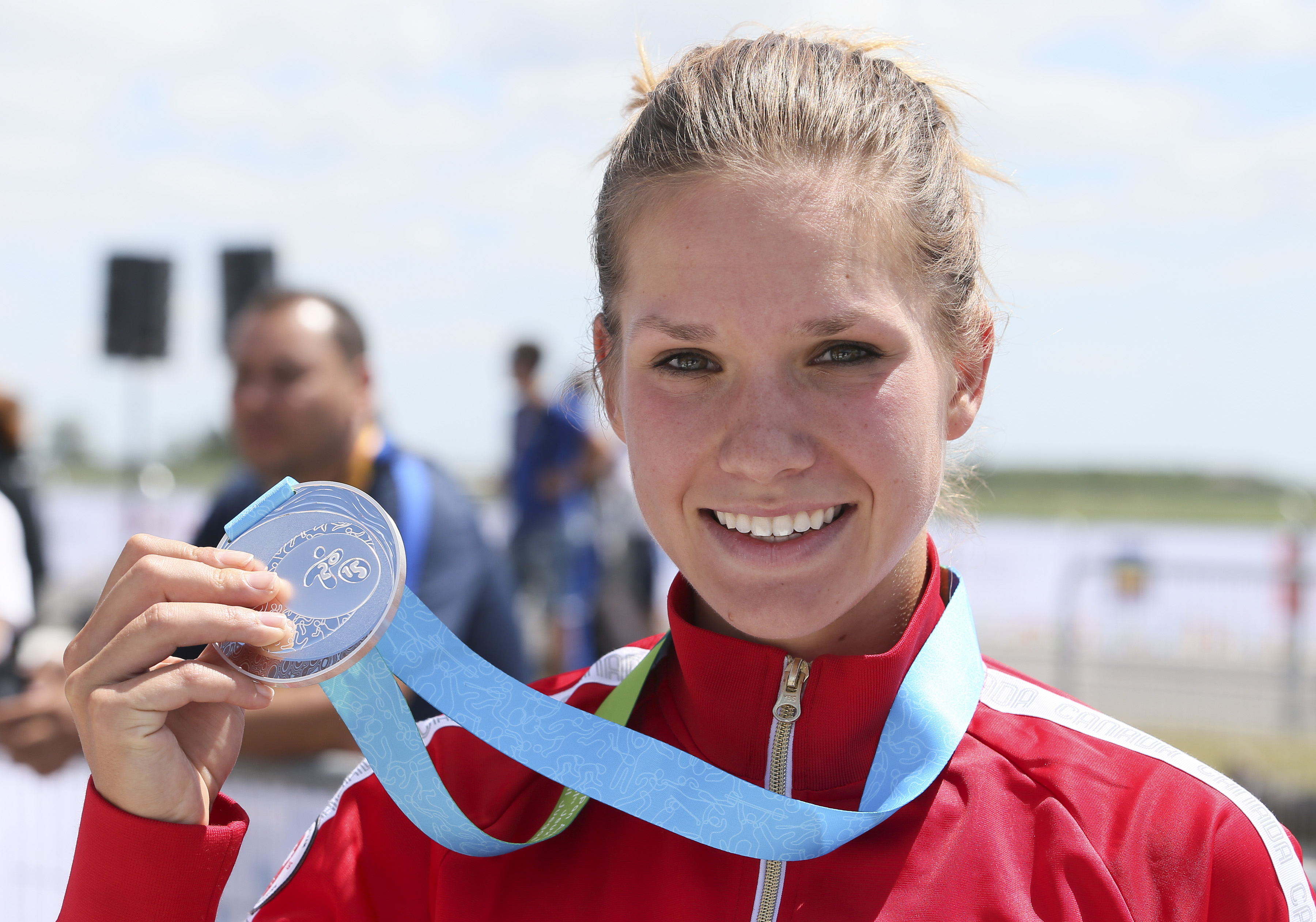 Jasmine Glassier of Vancouver was the silver medalist in the cycling time trial at the Pan American Games in Milton, Ont., Tuesday, July 21, 2015. Photo by Mike Ridewood/COC