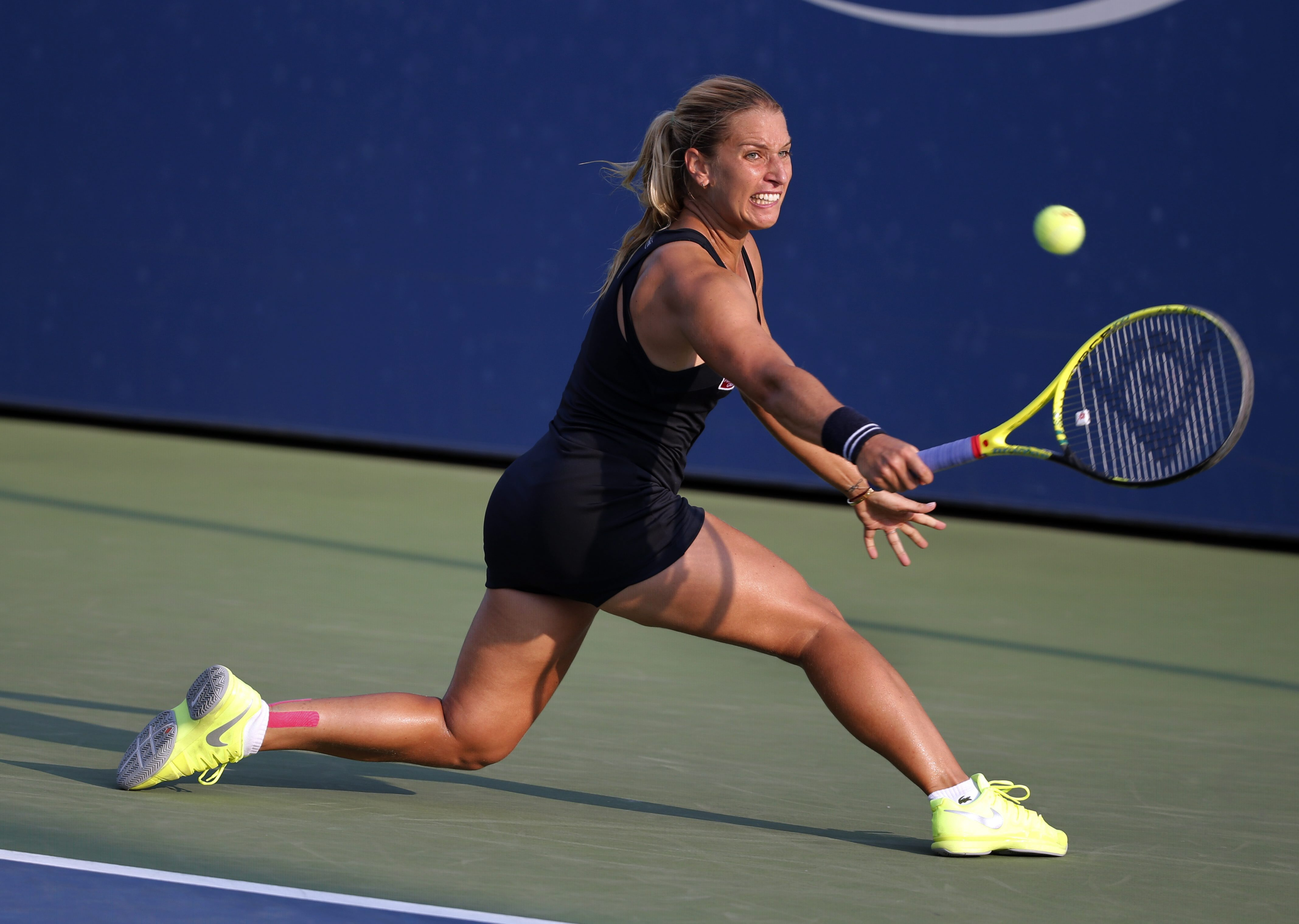 Dominika Cibulkova, of Slovakia, returns a shot against Jessica Pegula in the second round of the U.S. Open tennis tournament, Wednesday, Sept. 2, 2015, in New York. (AP Photo/Kathy Willens)