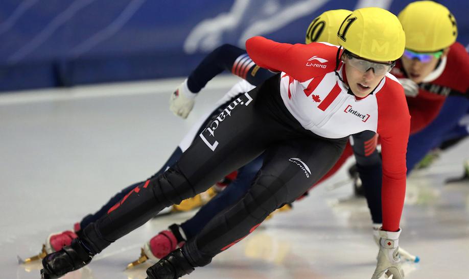 Marianne St-gelais lors de la Coupe du monde de Montréal, le 31 octobre 2015.